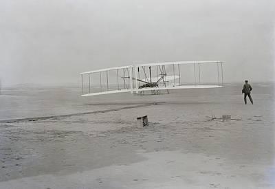 Wilbur Wright Runs Alongside As Orville Poster