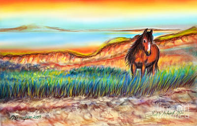 Poster featuring the painting Wild And Free Sable Island Horse by Patricia L Davidson