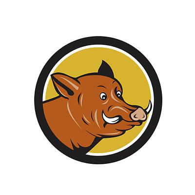 Wild Boar Razorback Head Startled Circle Cartoon Poster by Aloysius Patrimonio