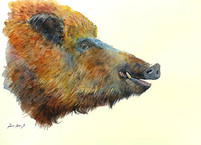 Wild Boar Watercolor Painting Poster by Juan  Bosco