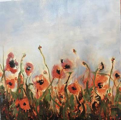 Wild Corn Poppies Underpainting Poster
