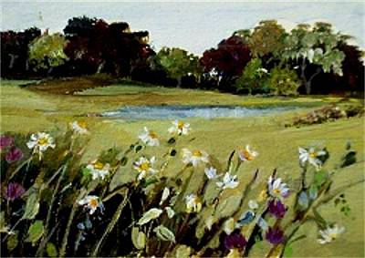 Poster featuring the painting Wild Flower Landscape by Diane Ursin