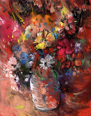 Wild Flowers Bouquet In A Terracota Vase Poster by Miki De Goodaboom