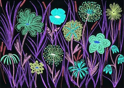 Wild Flowers Illuminated Poster by Sharon White