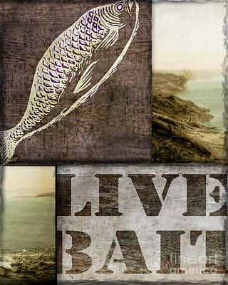 Wild Game Live Bait Fishing Poster by Mindy Sommers