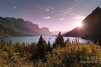 Wild Goose Island Sunset In Glacier National Park Poster by Brandon Alms
