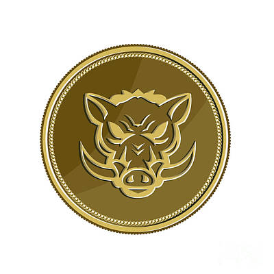 Wild Hog Head Angry Gold Coin Retro Poster by Aloysius Patrimonio