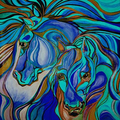 Wild  Horses In Brown And Teal Poster