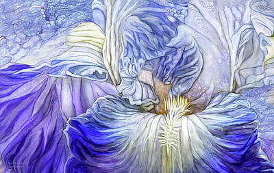 Poster featuring the mixed media Wild Iris Blue by Carol Cavalaris