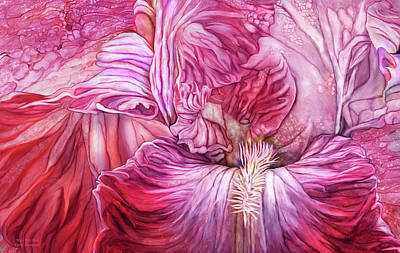 Poster featuring the mixed media Wild Iris Red by Carol Cavalaris