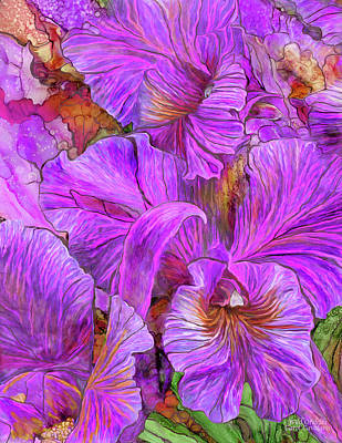 Poster featuring the mixed media Wild Orchids by Carol Cavalaris