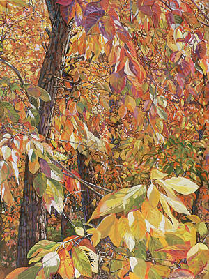 Wild Persimmon Trees Poster by Nadi Spencer
