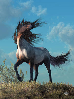Poster featuring the digital art Wild Roan by Daniel Eskridge