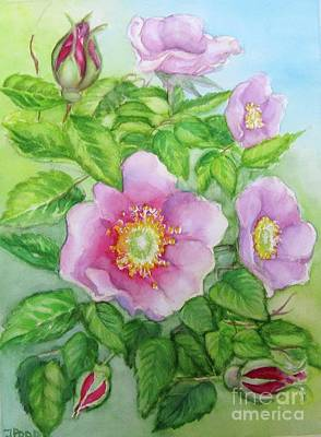 Poster featuring the painting Wild Rose 3 by Inese Poga