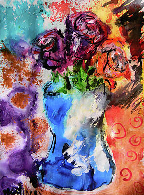 Poster featuring the mixed media Wild Roses by Lisa McKinney