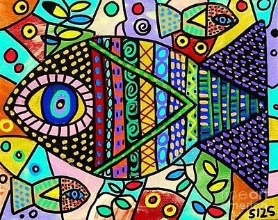 Wild Tribal Clown Fish Poster by Sandra Silberzweig