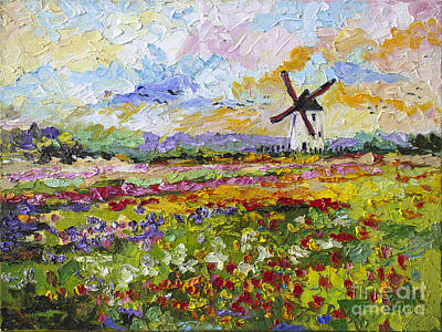 Wild Tulips Dutch Country Side Poster