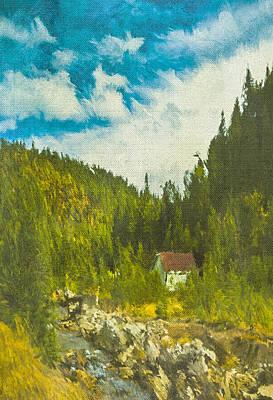 Poster featuring the digital art Wilderness Cabin by Dale Stillman