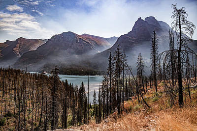 Poster featuring the photograph Wildfire Remnants Overlooking St. Mary's Lake, Glacier National Park by Lon Dittrick