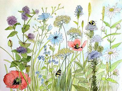 Wildflower And Bees Poster by Laurie Rohner