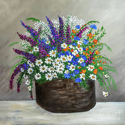 Poster featuring the painting  Wildflower Basket Acrylic Painting A61318 by Mas Art Studio