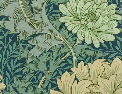 William Morris Wallpaper Sample With Chrysanthemum Poster
