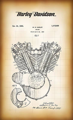 William S. Harley's V-twin Engine Patent 1923 Poster by Daniel Hagerman