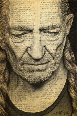 Willie Nelson Drawing Poster by Jeffrey St Romain