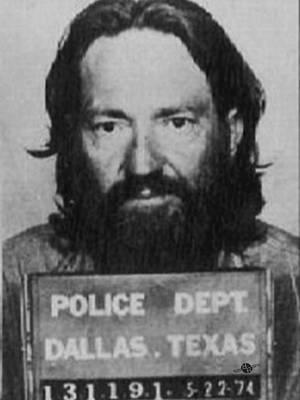 Willie Nelson Mug Shot Vertical Black And White Poster