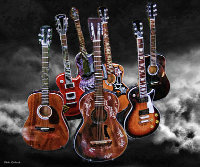 Willie Nelson Slash Martin Elvis Johnny Cash Guitar's  Poster