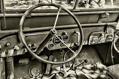 Willys Jeep Steering Wheel In Black And White Poster by Paul Ward