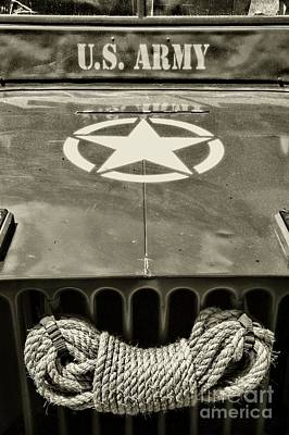 Willys Jeep With An Original Winch In Black And White Poster by Paul Ward