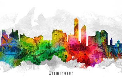 Wilmington Delaware Cityscape 12 Poster by Aged Pixel