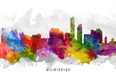 Wilmington Delaware Cityscape 13 Poster by Aged Pixel