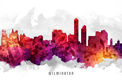 Wilmington Delaware Cityscape 14 Poster by Aged Pixel
