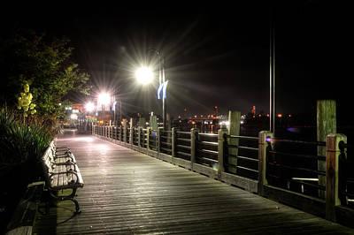 Wilmington Riverwalk At Night Poster by Greg Mimbs
