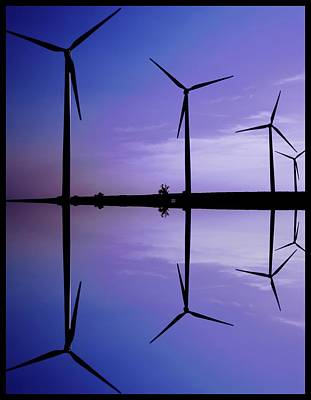 Wind Energy Turbines At Dusk Poster