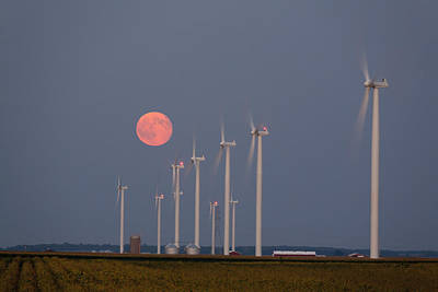 Wind Farm Moonrise Poster by Alexey Stiop