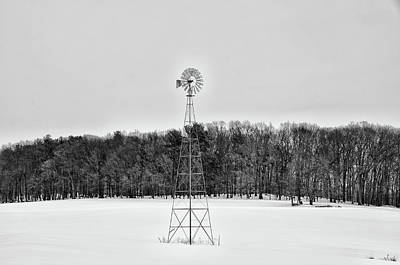 Wind Mill In Winter  Poster by Bill Cannon