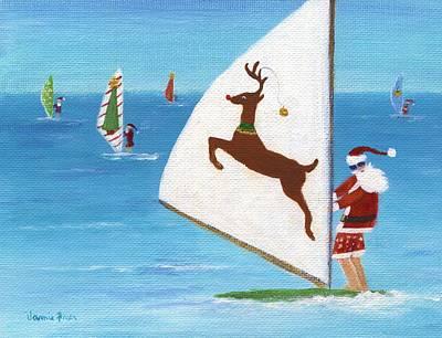 Wind Sailing Santa Poster by Jamie Frier