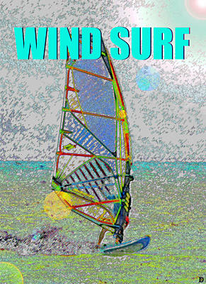 Wind Surf Smart Phone Blue Text Poster by David Lee Thompson
