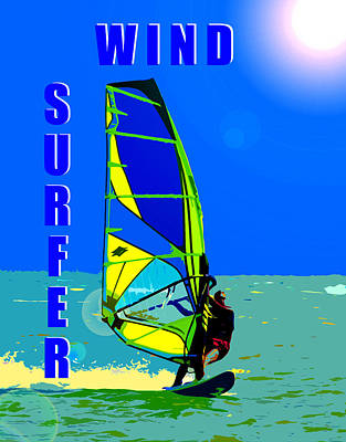 Wind Surfer Poster Poster by David Lee Thompson