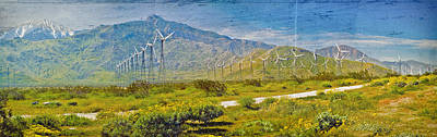 Poster featuring the photograph Wind Turbine Farm Palm Springs Ca by David Zanzinger