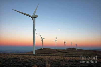 Wind Turbines At Moonrise Poster