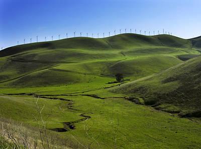 Wind Turbines Line A Mountain Ridge Poster by Amy White & Al Petteway