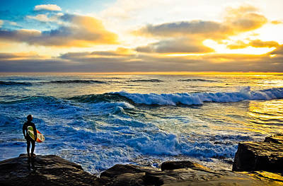 Windansea Sunset Surfer Poster by Kelly Wade