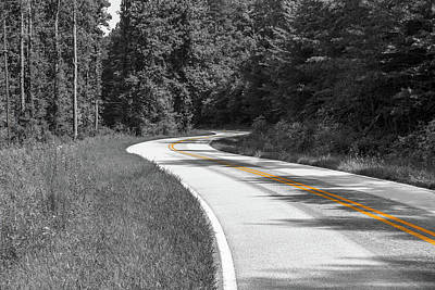 Poster featuring the photograph Winding Country Road In Selective Color by Doug Camara