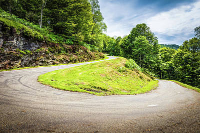 Winding Road With Sharp Curve Going Up The Mountain Poster by Semmick Photo