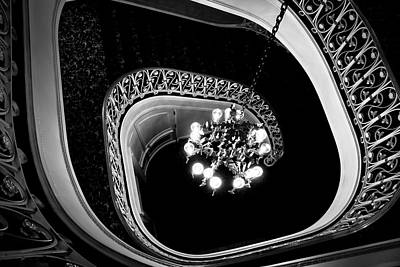 Winding Staircase In Black And White Poster