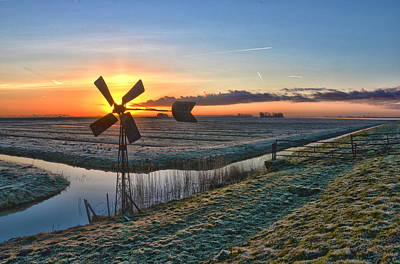 Windmill At Sunrise Poster by Frans Blok